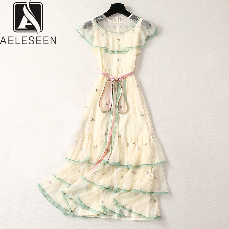 AELESEEN Luxury Embroidery Princess Dresses 2019 Summer Fashion Women Flower Embroidery Mesh See Through Mid Calf