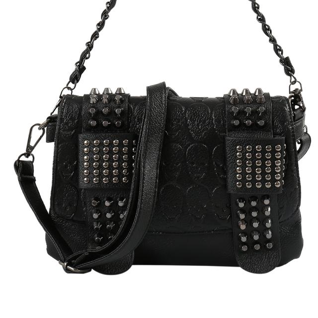 Women Black Leather Messenger Bags Fashion Vintage Messenger Cool Skull Rivets Shoulder Bags