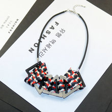 Fashion Bohemian Wooden Fabric Pendant Necklace Jewellery for Women Korean Style Statement Chunky Blue Cuval Kumas Free Shipping