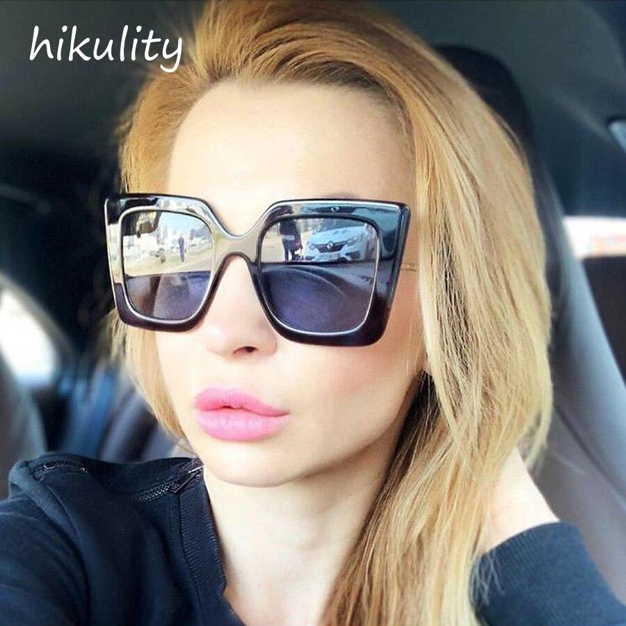 5cfce2633c9 90407a Nouveau 2019 lunettes de soleil surdimensionnées Femmes De Luxe  Marque UV400 Protéger Gradient Objectif Grand