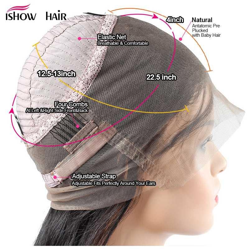 Ishow Синтетические волосы на кружеве человеческих волос парики предварительно сорвал натуральных волос яки прямо 360 кружевных фронтальных париков 8-24 бразильский кружевно парик с волосами Реми