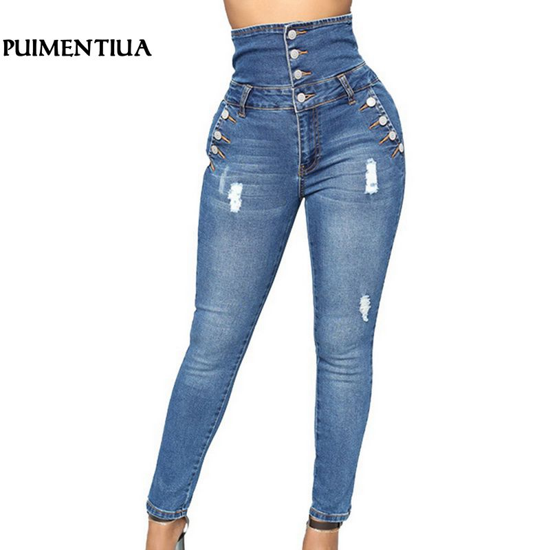 Puimentiua 2019 Women High Waist Denim Pecil Pants Mujer Hole Ripped Elastic Stretch   Jeans   Button Skinny Trousers Size Plus