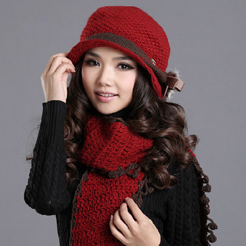 Charles Perra Women Hat Scarf Sets Winter Thicken Wool Knitted Hats Casual Fashion Pure Handmade Woven Woolen Cap Beanies SCD8