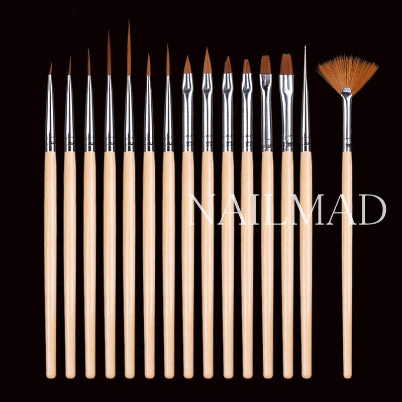 15pcs Nail Art Drawing Painting Brush Dotting Liner Pen Brush DIY Design Tips UV Manicure Tool Acrylic Fan Builder Carving in Nail Brushes from Beauty Health
