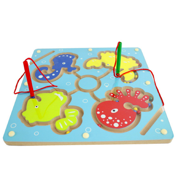 D602 Free shipping fancy wooden wooden toys Magnetic brush maze Parent-child hand-eye coordination game