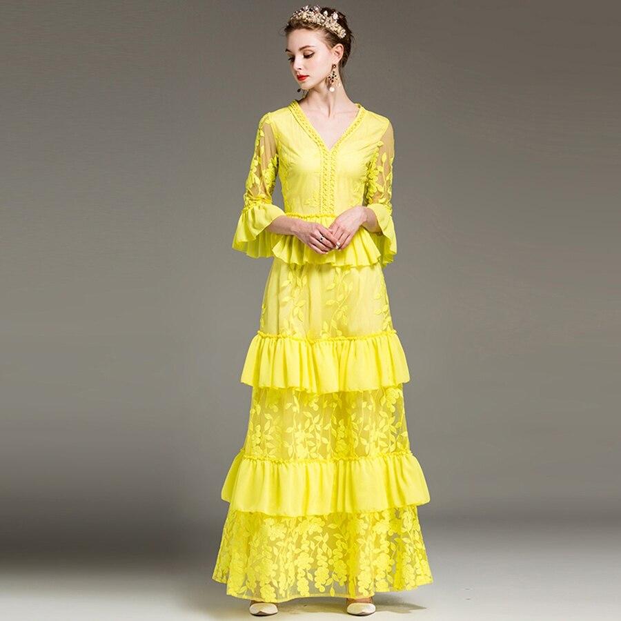 High Street Dresses New 2018 Spring Fashion Mesh Luxury Flower ...