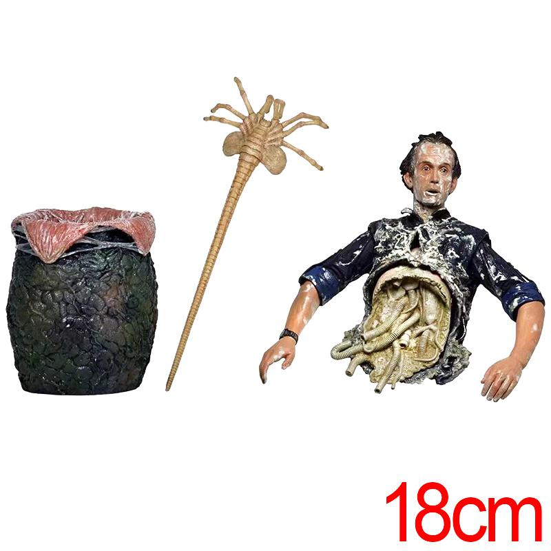 C&F Alien Anime Action Figure Toys Horror Human Half Body Queen Attacks 18 CM Collectible PVC Figures Toys Halloween Gifts фигурка planet of the apes action figure classic gorilla soldier 2 pack 18 см