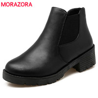 Martin Boots Pu Soft Leather Square Heel Round Toe Ankle Solid Fashion Big Size 34 40