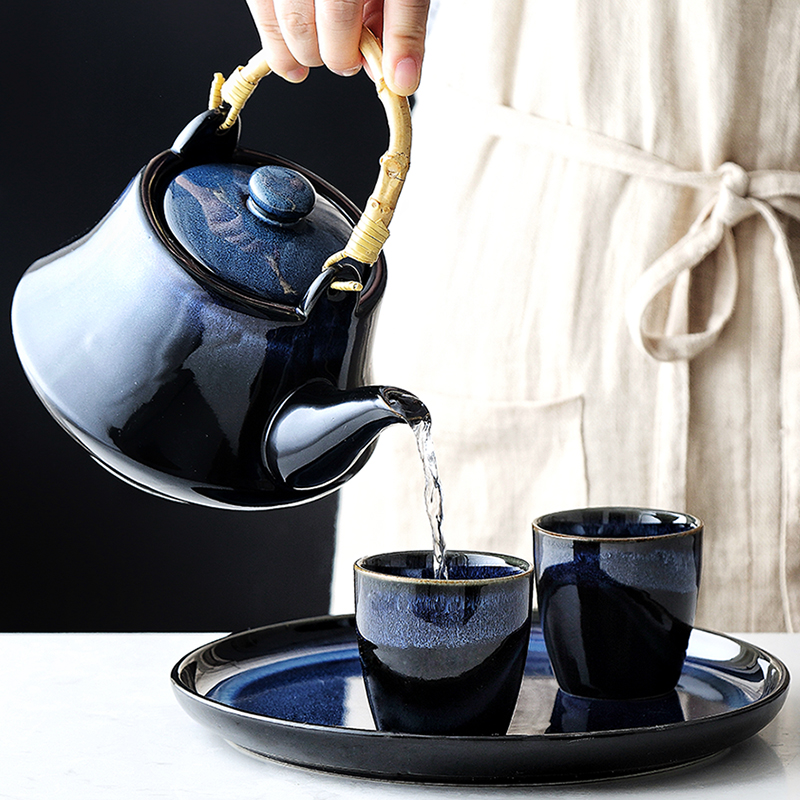 Blue Cat Eye Design Teapot Chinese Traditional Ceramic Tea Cup Afternoon Tea Drinkware Set Home Decor Craft