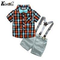 Kimocat Summer Dress The New Gentleman Boy S Short Sleeve Checked Shirt Denim Trousers With A