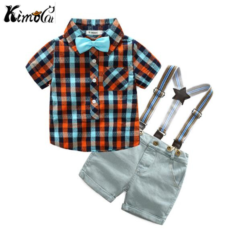 Kimocat Summer dress the new gentleman boy's short - sleeve checked shirt denim trousers with a cotton suit