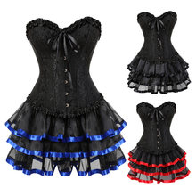 Women's Vintage Bustiers And Corsets Steampunk Retro Victorian Punk Cincher Lace up Ruffle Corset Dress Set Tutu Skirts(China)