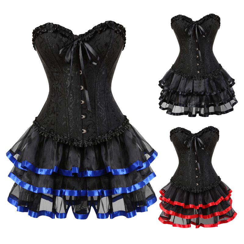 Women's Vintage   Bustiers   And   Corsets   Steampunk Retro Victorian Punk Cincher Lace up Ruffle   Corset   Dress Set Tutu Skirts