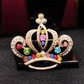 Requintado de Alta Qualidade pedras de cor mulheres linda rainbow broche coroa Pin broche de ouro ou francês barrette moda bijuteria