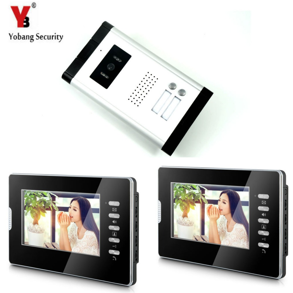 купить Yobang Security Video Doorbell Intercom 7'Inch Monitor Wired Video Door Phone Intercom Speakerphone System 1 Camera 2 Monitor недорого