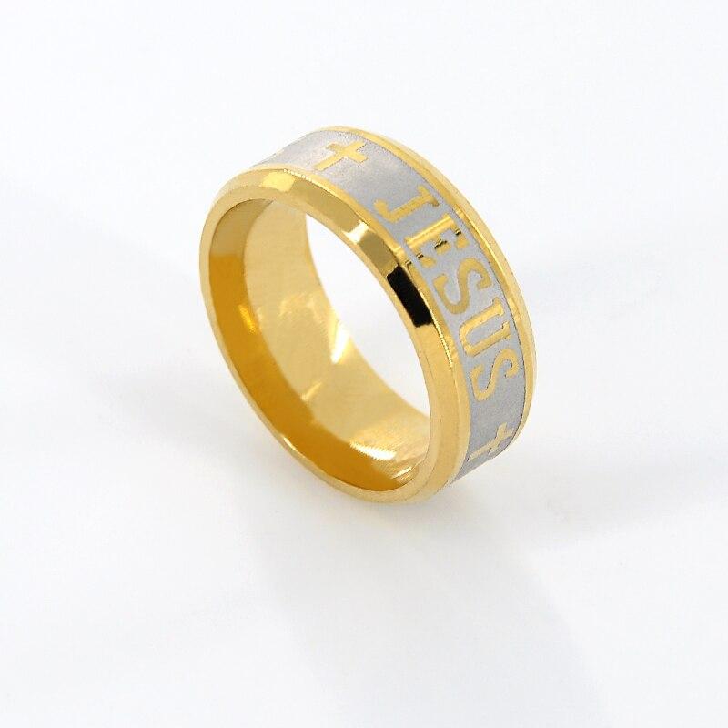 Top Qualität 316 Edelstahl Ring Gold farbe Jesus Kreuz Ring Brief ...