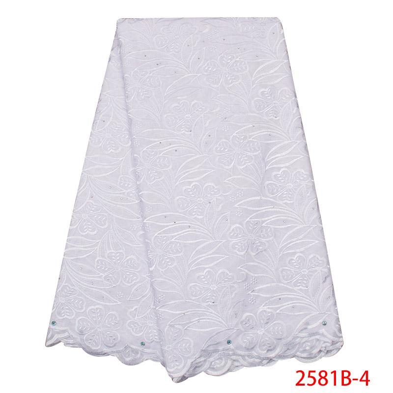 Swiss Voile Laces High Quality 2019 African Dry Lace Fabric Emboridery French Cotton With Stones For Wedding KS2581B-4