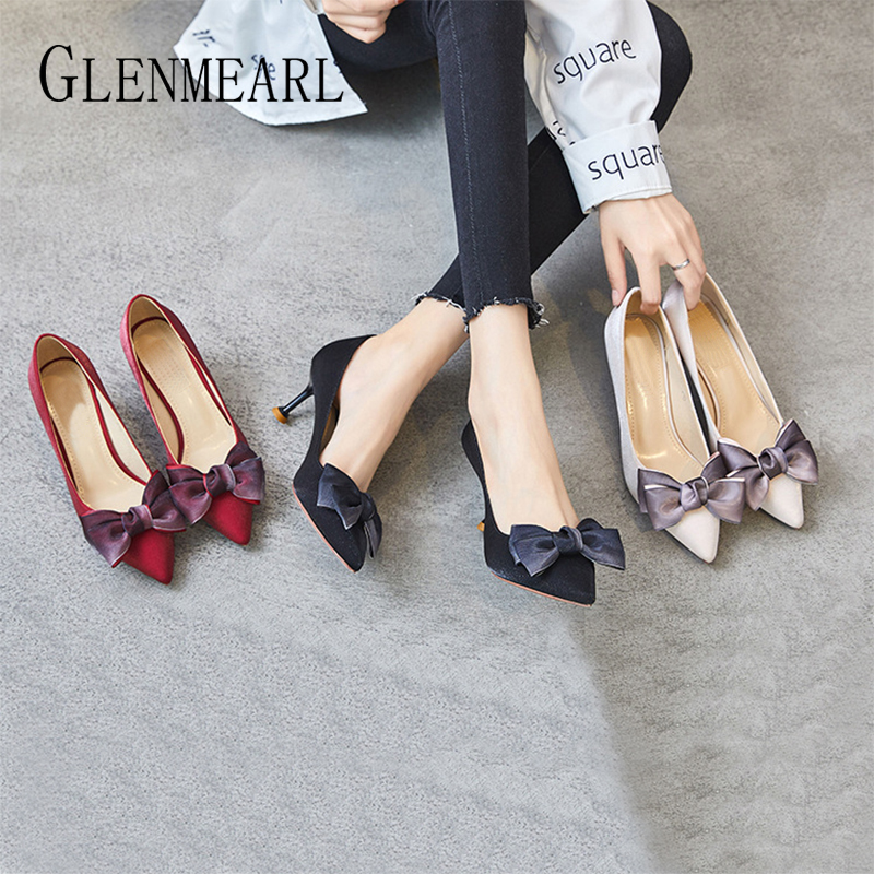 Women's High Heel Brand Shallow Mouth Shoes Women's Shoes Pointed Bow Wine Glass Heel Summer Sexy Party Shoes Wedding Shoes DE