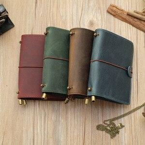 Image 2 - Alicia Story 100% cuero genuino multifunción diario de viajero diario Vintage hecho a mano cuero cuaderno planificador