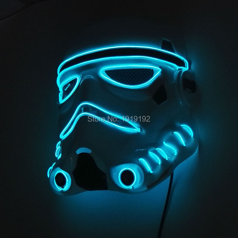 24 Style Colorful EL Wire Halloween Terrified Mask Flashing LED Neon <font><b>light</b></font> Mask For Wedding Masquerade Birthday Party Decoration