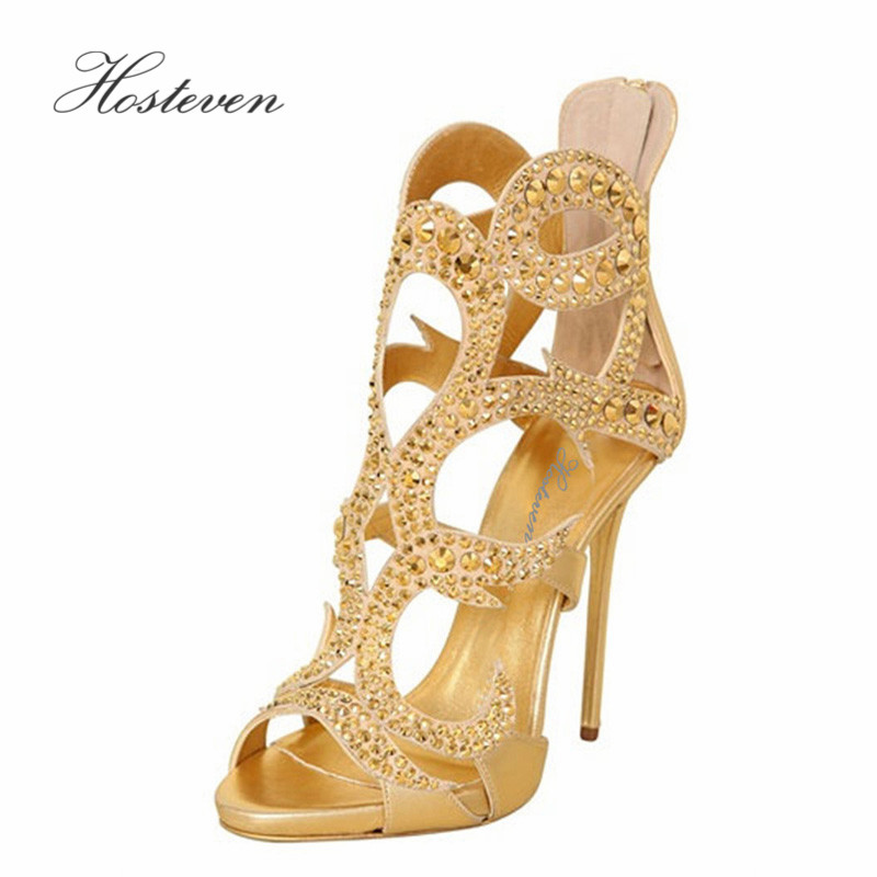 Hosteven Brand Women's Shoes Sexy Pumps High Heels Woman Crystal Leather Sandals Women Shoes Lace Up Shoes Size 34-46 hosteven high heels women s shoes woman ladies pumps thin heels footwear woman sexy leopard sandals shoes plus size 34 44