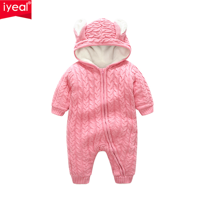 IYEAL New Arrival Cute Rabbit Ear Hooded Thick Warm Knitted Baby Rompers Infant Girl Boys Jumpers Kids Toddler Outfits Clothes