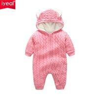 IYEAL Yeni Varış Sevimli Tavşan Kulak Kapşonlu Kalın Sıcak Örme Bebek Rompers Bebek Kız Erkek Jumper Çocuklar Toddler Kıyafetler Giysileri