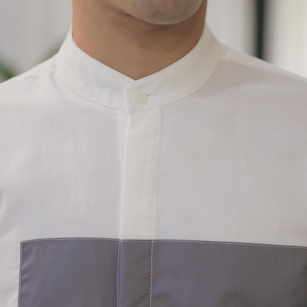 mode été style classique patchwork manches longues chemise robe - Vêtements pour hommes - Photo 5