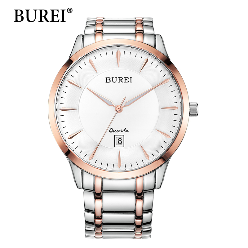 Men Watch Original Top Brand BUREI Steel Band Mens Hours Waterproof Wristwatches Date Display Fashion Male Watches Gift Hot Sale for bmw f800r 2016 2015 2014 2013 2012 2011 2010 2009 radiator guard protector grille grill cover bike motorcycle accessories