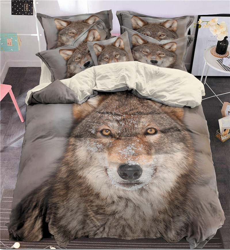 Fanaijia 3d Indian Wolf Bedding Set Queen Size Wolf Print Duvet Cover Set With Pillowcase 3pcs Bedbedline