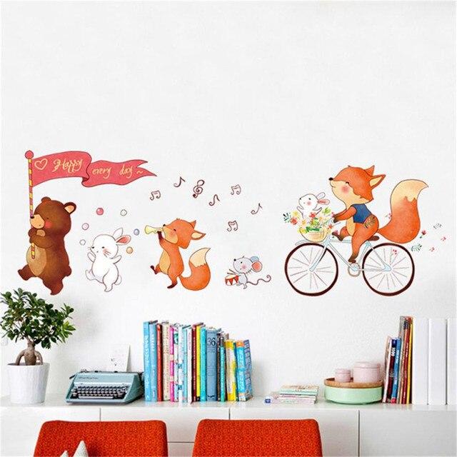 large 60*90cm cartoon animal bear wall sticker flag happy every day