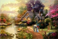 Diamond Painting Full Square Drill House Decoration Cross Stitch Mosaic Embroidery Fabric Kits Scenic Paint Plant