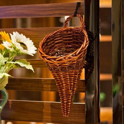 Hand Woven Wicker Basket Rattan Baskets Small Wall Mounted Hook Type Flowerpot Home Hanging Decor Usa Style In Flower Pots Planters From