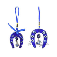 BRISTLEGRASS Turkish Blue Evil Eye Horseshoe Wall Hanging Pendant Pendulum Amulet Lucky Charm Blessing Protection Art Gift Decor
