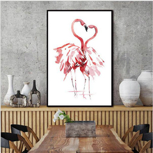 цена Fashion Gift Watercolor Flamingo Love Animal Canvas Art Print Painting Poster Wall Art for Home Decoration Giclee Print No Frame онлайн в 2017 году