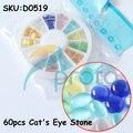 60pcs Cat Eye Stone Oval Round Shape Rhinestone Gems 3D Nail Art Decoration D0519
