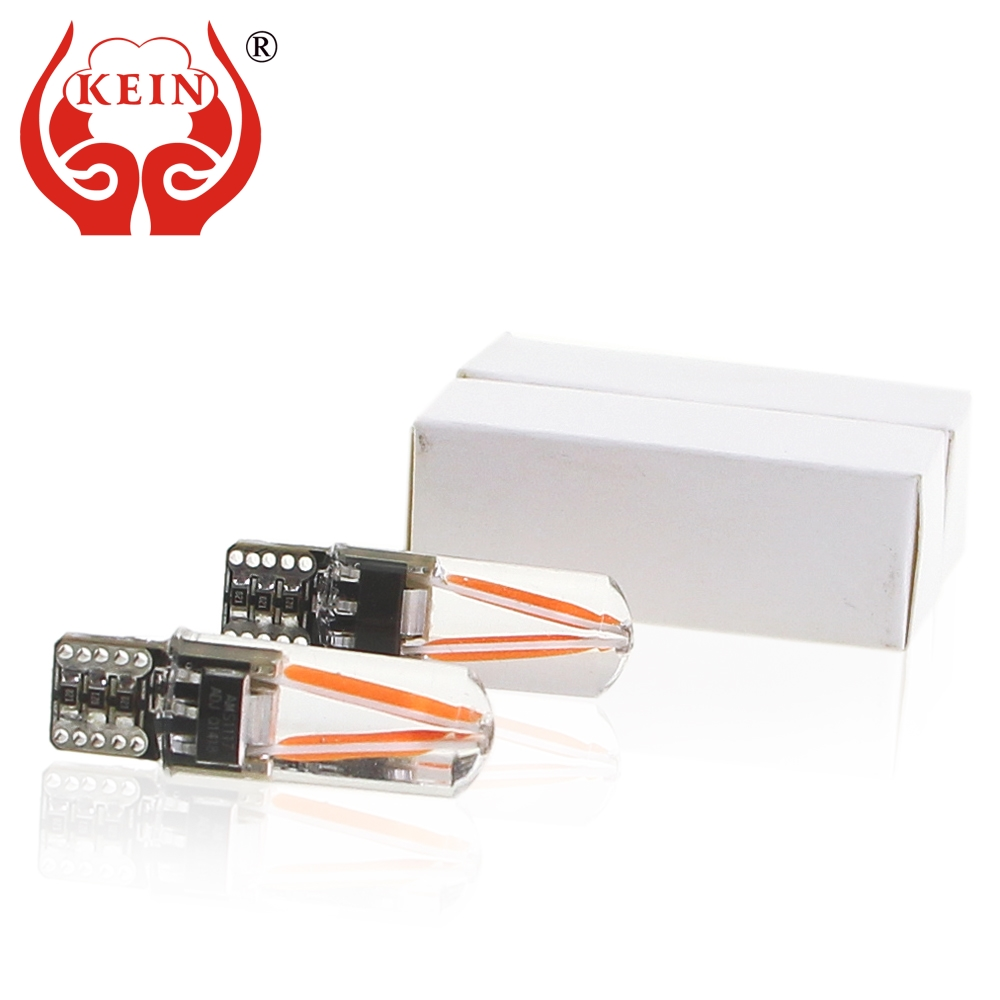 KEIN 10PCS Canbus T10 w5w LED light 194 Auto car silicone COB Filament interior Reading Lamp Side Wedge DRL parking bulb 12V red car led 1pcs t10 194 w5w dc 12v canbus 6smd 5050 silicone shell led lights bulb no error led parking fog light auto car styling
