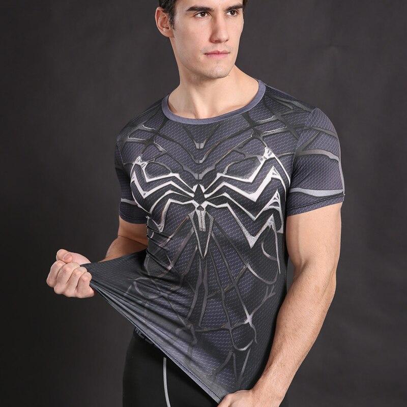 <font><b>Spiderman</b></font> <font><b>Costume</b></font> Venom <font><b>T-shirt</b></font> Armor Shirt Fitness Compression Men T shirt Cosplay Badass Black <font><b>Spiderman</b></font> tops Male Tees JOLAYK