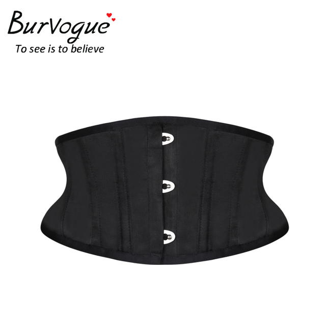 f576f83e34a Burvogue Women Waist Trainer Corsets Slimming Shaper Belt Short Torso Satin  Underbust Corset Sexy Lace Up