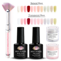 MEET ACROSS Dipping Powder/Brush/Top Coat/Base Coat Gradient Nail Color Glitter Without Lamp Cure Manicure Nail Art Decoration