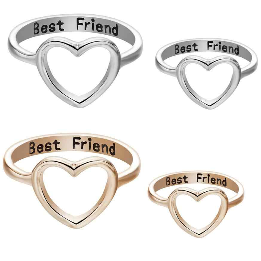 1cb2f4f6ec 2018 fashion design Rings for Women Fashion Best Friends Jewelry Ring  Simple Hollow Heart Ring Friendship