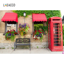 Laeacco Flower House Telephone Booth Bench Portriait Photography Backgrounds Customized Photographic Backdrops For Photo Studio