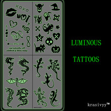 Krasivyy Luminous часовыя налепкі татуіроўкі ювелірных жывёл 3 колер цёмна свецяцца татуіроўкі ўспышкі татуіроўкі паста макіяж дзяўчыны татуіроўкі