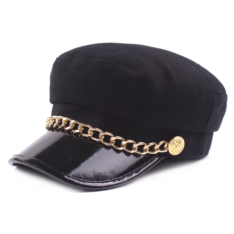 Women Man Wool Newsboy Caps Fashion Black Solid Color Military Hats With Gold Chains Female Berets Gorras Woolen navy cap