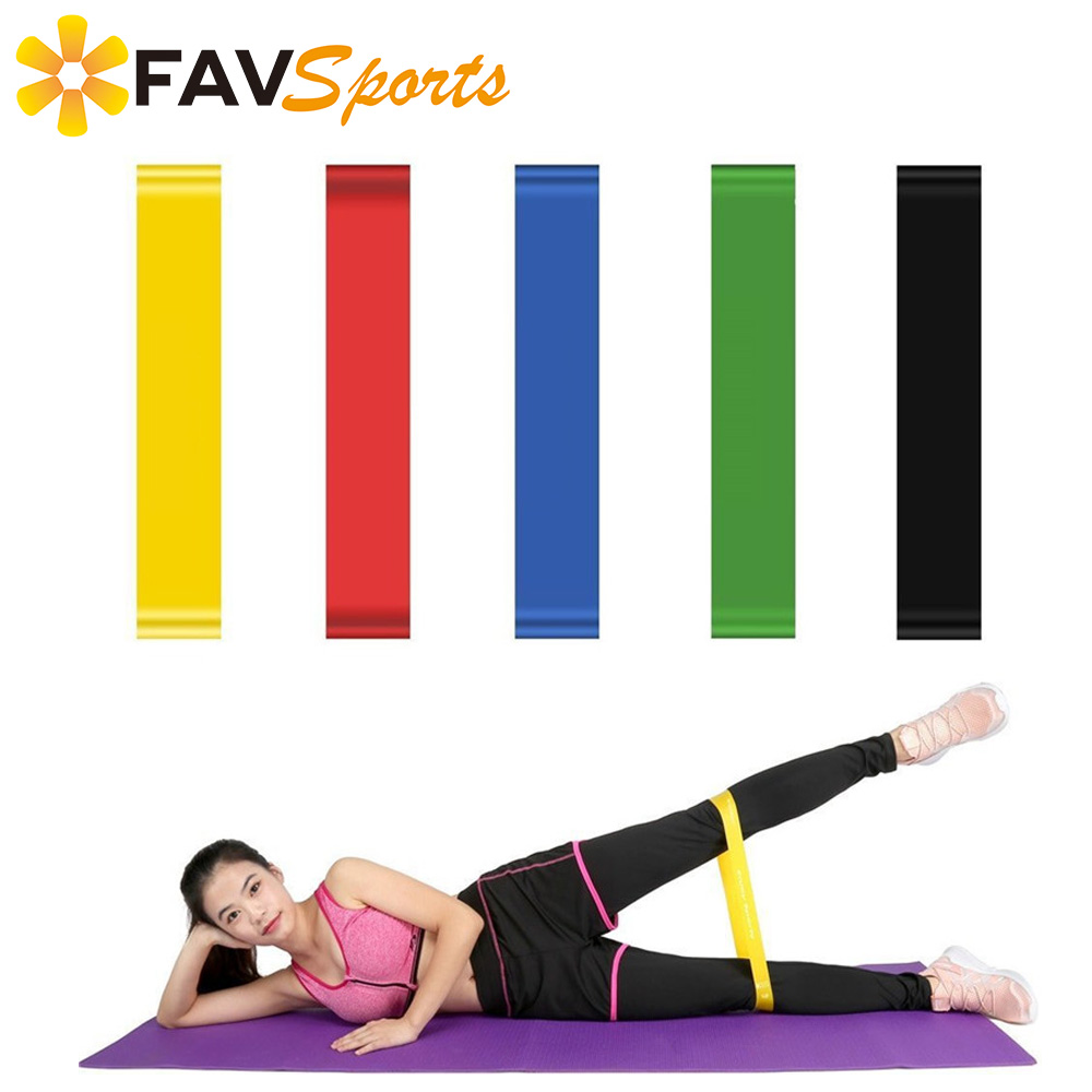 1Pcs Elastic Resistance Loop Bands for Exercise Yoga Pilates Workout Fitness Yoga Stretch Rope 5 Colors