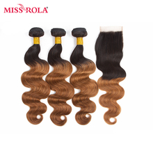Miss Rola Hair Pre-colord Indian Body Wave Hair Weaving 3 Bundles With Closure #T1B/30 Color 100% Human Non-Remy Hair Extension