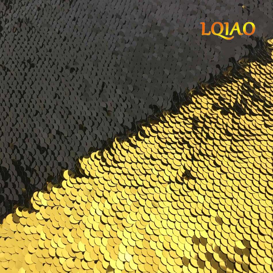 Haute Qualité 125*45 cm Or-Noir Réversible Sirène Poissons Échelle Sequin Tissu Scintillant Paillette tissu Pour Robe/Bikini/Coussin