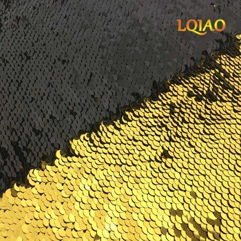 High Quality 125*45cm Gold-Black Reversible Mermaid Fish Scale Sequin Fabric Sparkly Paillette fabric For Dress/Bikini/Cushion image