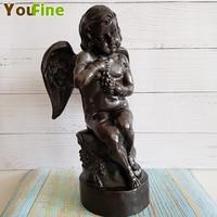 Бронзовое Западное искусство Ангел скульптура маленький ангел интерьер дверной проем надгробный камень украшение Античная коллекция