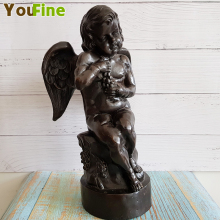 Bronze Western Art Angel Sculpture Little Interior Doorway Tombstone Decoration Antique Collection